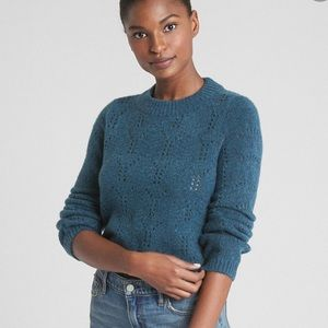 Gap | Teal Pointelle Knit Sweater